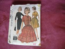 Vintage McCalls Pattern 7397 Miss Dress 1964 Sz 18/20 Bust 38/40 Slim Full Skirt