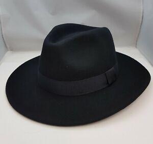 Mens Wide Brim Black,Grey high Quality 100% Wool Felt  Fedora Hat Nice Fitting