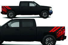 """Vinyl Decal """"Ripped"""" Wrap Kit for Chevy Silverado Truck 1500/2500 2008-2013 RED"""