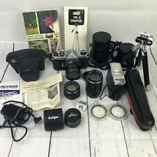 Asahi Pentax Spotmatic Lot w/ 50mm f1.4 28mm +135 mm Lenses Flash Tripod Cases
