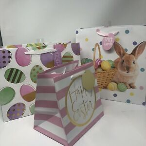New 3  Easter Holiday Gift Bags Happy Easter Spring 10x12 12x12 8x8 Bunny Pink