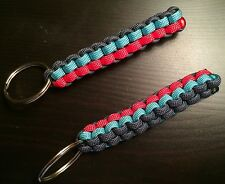 ONE (1) Paracord Keychain FOB 550 Cord USA Custom Colors! BOX KNOT TJPARACORD