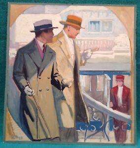 "Vintage Illustration Signed Linus (Axel 1885-1980) ""Gentlemen Strolling"" Gouache"