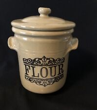 "Moira Pottery England Crock Flour Canister & Lid Farm to Table 8""x8"" Tan Brown"