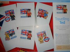 Teddy bear tourist/London designs for cards cross stitch chart by Lucie Heaton