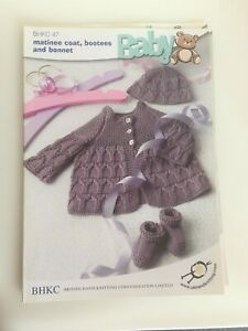 Knitting pattern ~Matinee Coat, Bootees & Bonnet 4 ply~10-18 inch chest~ BHKC 47