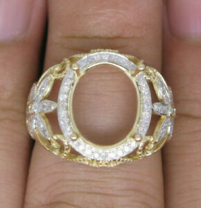 Vintage Oval Cut 12x10MM Natural Diamond Ring Setting Only Solid 18K Yellow Gold