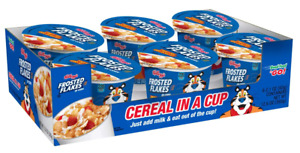 Kellogg's Frosted Flakes, Breakfast Cereal in a Cup, Single Serve 2.1oz (6 Cups)