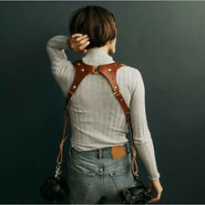 Dual Multi Camera Brown Leather Harness Shoulder Strap Made NEW Fashion