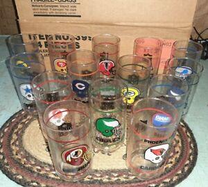 Vintage MIB 1988 Set of 14 NFC Football Cooler Glass Tumblers RARE NFL Mobil
