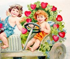 VALENTINE Auto ANGELS Hearts Shamrocks Forget-me-not Postcard EMB