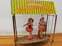 Occupied Japan Wind Up Celluloid Tin Toy. CK   Kuramochi Marionette Theatre. Box