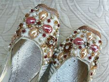 ROSS GOLD / CREAM MULTI STONED INDIAN WEDDING KHUSSA SHOES SIZE 5