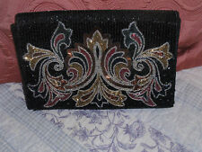 Vintage ALL beaded Black/Multi  evening Clutch-Handbag-Purse