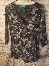 Fresh Produce womens shirt Tunic XS 3/4 Sleeve Underwater Black White USA Shell