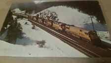 Postcard Vintage Train Union Pacific in the Blue Mountains