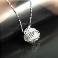 925 Sterling Silver Sweet 12MM Love Mesh Knot Pendant + Necklace Chain Set H3