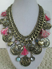 NWT Auth Betsey Johnson Cameo Critters Bulldog Cat Coin Chain Statement Necklace