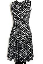 Calvin Klein Women's Lasercut Flared Dress Black and White Size 2 NWT