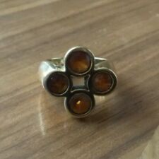 Authentic 18k Yellow Gold Citrine 4 Stone Ring one of a kind