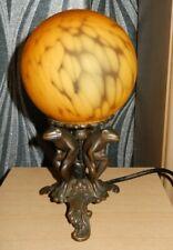 TIFFANY STYLE VINTAGE AMBER GLOBE LAMP 3 FROGS BASE VGC