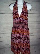 Women's TRINA TURK Halter Dress 4 Brown Pink Orange Silk Gorgeous New!