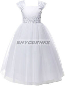 New White First Holy Communion Flower Girl Dress Wedding Baptism