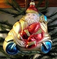 Lauscha Glas  Santa on Scooter Motorbike Mold Blown Glass Ornament  Gift~Germany