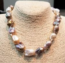 Big Fresh Water Naturally Color Baroque Pearls Strand with 14Kt Solid Gold Clasp