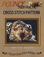 Pounce Tiger Fractal Cross Stitch Pattern by Tracy Warrington (2012, Paperback)