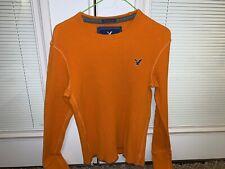 American Eagle Ae Mens Waffle Knit Orange Thermal Long Sleeve Shirt Small