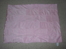 BABY CONNECTION PINK SATIN MINKY PATCHWORK PATCH WORK BLOCK SQUARE BLANKET GIRL