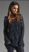 FREE PEOPLE Navy Blue CROCHET Pullover Hoodie BOHO Silk Blend Sweater XS