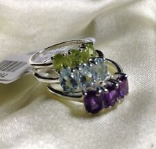 Stacker Rings, Topaz Ring, Peridot Ring, Amethyst Ring, Sterling Silver, Size M