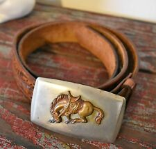 Vintage Justin Tooled Leather Acorn Belt Nickel Silver Bronco Horse Buckle 34