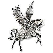 "SPARKLING PEGASUS BROOCH 2"" Pin NEW Silver Rhinestone HIGH QUALITY Flying Horse"