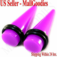 """0411 Purple Acrylic Stretchers Tapers Expanders 9/16"""" inch 14mm 1 pair Ear Plugs"""