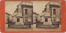 Milan Milano Cesare Beccaria statue Italie Photo Stereo Vintage Albumine ca 1875