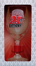 21st BIRTHDAY WINE GLASS READY GIFT IN A BOX PRESENT - 220ml