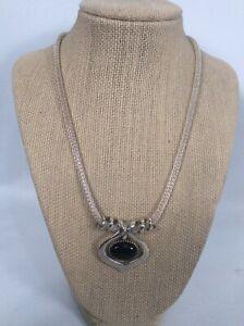 J.R. Silversmith USA Modernist Sterling Silver 925 Onyx Pendant  necklace