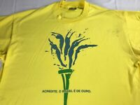 Brasil T-Shirt VTG Adult XL Yellow Green Brazil USA Made Acredite E De Ouro Tee