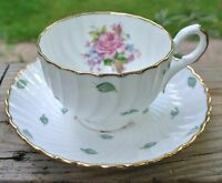 Jason Bone China White Green Rose Leaves and Rose Cup & Saucer