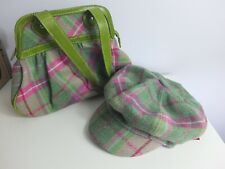 NESS green & pink tartan check wool tweed shoulder handbag & Baker Boy cap