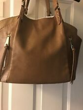 INC International Concepts Camel Tan Large Tote With Front Zipper Detail