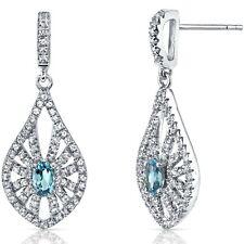 14K White Gold Swiss Blue Topaz Chandelier Earrings 0.50 ct