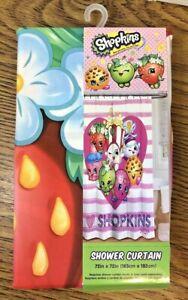 "I Love Shopkins 72x72"" Pink Fabric Shower Curtain Machine Washable New Fast Ship"