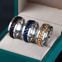 Stainless Steel Men's Spinner Chain Rings Steel Ring Ladies Titanium Zircon Ring