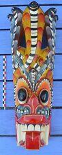Superbe masque du Sri Lanka (Ceylan), tête de dragon et couronne de cobras,