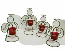 International 4 Silver Angel Votive Candle holder wire red glass Christmas