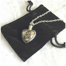 Teddy Bear Heart Stainless Steel Cremation Jewellery Ashes Urn Necklace for Baby